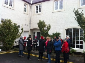 Some members of our group gathering outside the Eglinton Arms