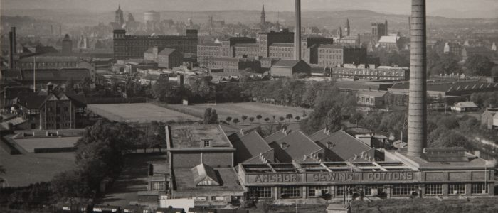 Anchor Mills, in the distance are church spires, Paisley Town Hall and Paisley Abbey © Heritage Services, Renfrewshire Leisure