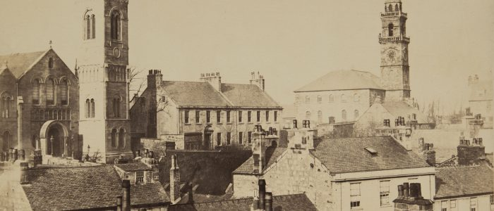 "Taken from the roof of Townhead House showing Orr Square Church and the High Church. Original source - black & white 11½"" x 8½"" photograph. <br>© Heritage Services, Renfrewshire Leisure"